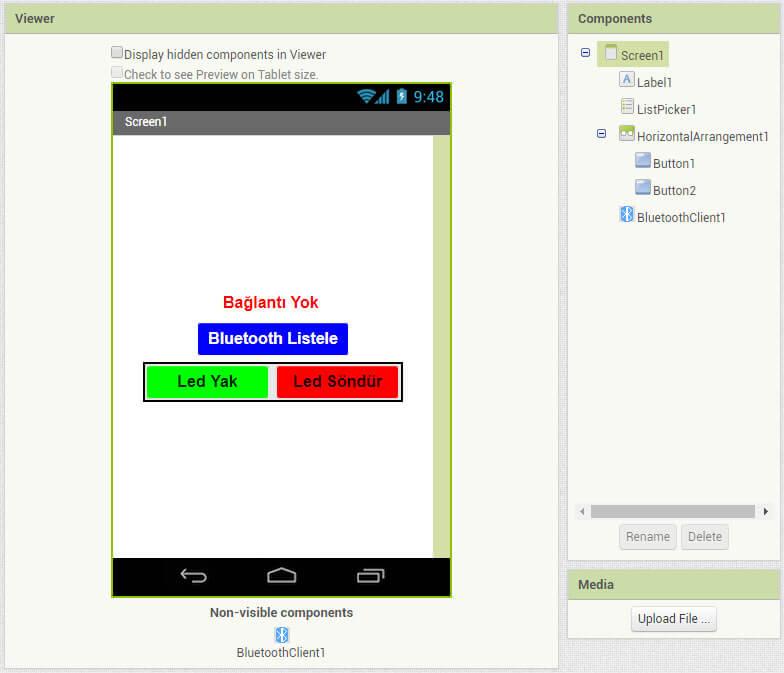 appinventor-ile-led-yakma-uygulama-ekranı